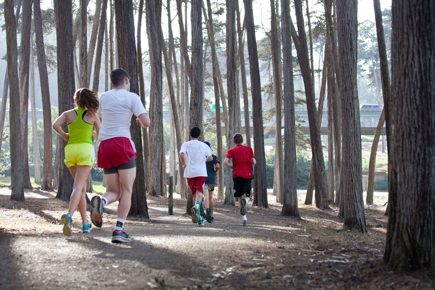 trail runners in the presidio