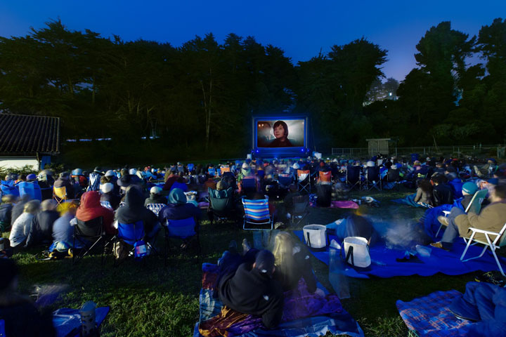 outdoor film screening in the Presidio
