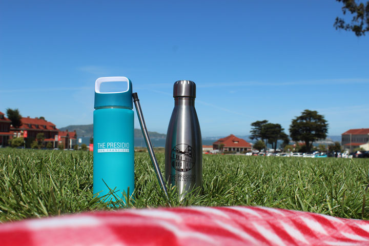 reusable bottles on the Main Parade Ground