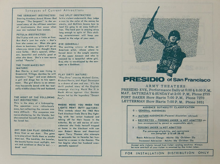 Presidio Theatre program in 1969