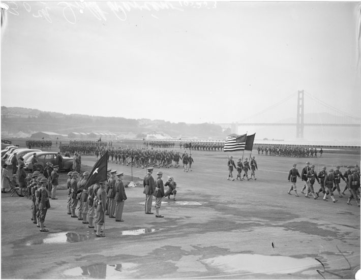 The 30th Infantry review, Crissy Field. This image shows Crissy Field paved over and Lieutenant Colonel D.D. Eisenhower (General Thompson's Chief of Staff) in the image (middle of second row facing the photographer).
