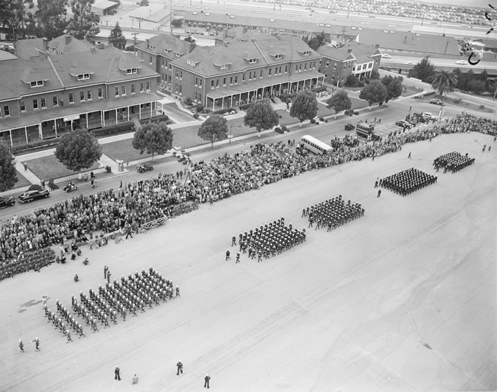 Drill in front of Building 105 in 1951