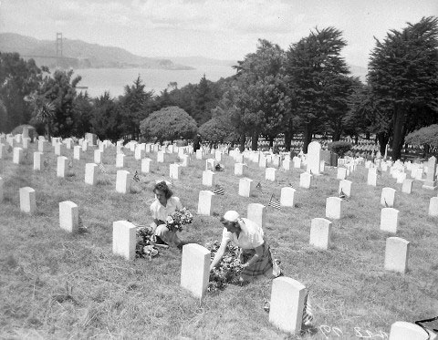 The American Legion's Junior Auxiliary Decorating Graves – May 29, 1940