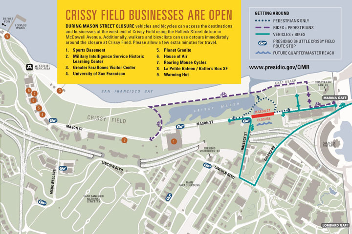 Crissy Field Business Are Open map